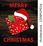 a christmas gift box with a... | Shutterstock .eps vector #1208919016