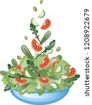 fresh vegetable salad with... | Shutterstock .eps vector #1208922679