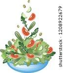 fresh vegetable salad with... | Shutterstock .eps vector #1208922679