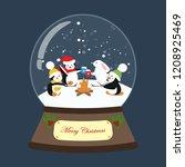 christmas snow globe on the... | Shutterstock .eps vector #1208925469