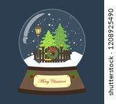 christmas snow globe on the... | Shutterstock .eps vector #1208925490