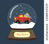 christmas snow globe with truck ... | Shutterstock .eps vector #1208925529