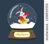 christmas snow globe with... | Shutterstock .eps vector #1208925553
