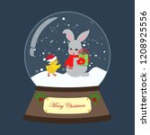 christmas snow globe with... | Shutterstock .eps vector #1208925556