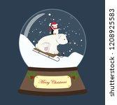 christmas snow globe with bear... | Shutterstock .eps vector #1208925583