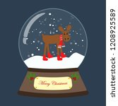 christmas snow globe with moose ... | Shutterstock .eps vector #1208925589