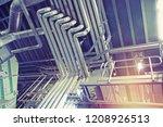 industrial steel pipelines ... | Shutterstock . vector #1208926513