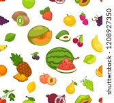 banana and watermelon  cherry... | Shutterstock .eps vector #1208927350
