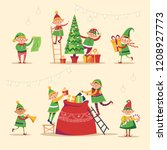 christmas winter holiday  elves ... | Shutterstock .eps vector #1208927773