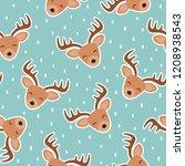 cute reindeer cartoon deer... | Shutterstock .eps vector #1208938543