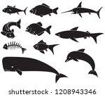 Stock vector fish icons set black silhouettes dolphin carp shark whale swordfish piranha 1208943346