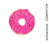 donut with pink glaze and...   Shutterstock .eps vector #1208947159