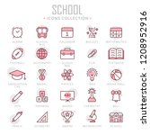 collection of school thin line... | Shutterstock .eps vector #1208952916