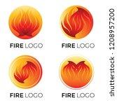 set of vector abstract... | Shutterstock .eps vector #1208957200