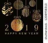 2019 happy new year  golden ...   Shutterstock .eps vector #1208958313