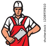 butcher vector illustration | Shutterstock .eps vector #1208959810