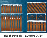 wooden fence. cartoon wooden... | Shutterstock .eps vector #1208960719
