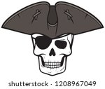 pirate skull with triangle hat... | Shutterstock .eps vector #1208967049