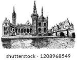 vector sketch of embankment... | Shutterstock .eps vector #1208968549