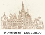 vector sketch of embankment... | Shutterstock .eps vector #1208968600