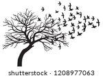 scary bare black tree... | Shutterstock .eps vector #1208977063