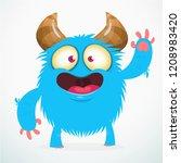 funny hairy monster cartoon... | Shutterstock .eps vector #1208983420