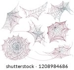 set of  cobweb. spider web for... | Shutterstock .eps vector #1208984686