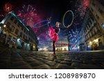 night street circus performance ... | Shutterstock . vector #1208989870