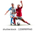 caucasian soccer players...   Shutterstock . vector #1208989960