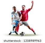 caucasian soccer players...   Shutterstock . vector #1208989963