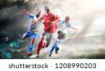 soccer players in action on the ... | Shutterstock . vector #1208990203