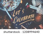 let s celebrate hand brush... | Shutterstock . vector #1208994640