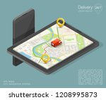 city map navigation route ... | Shutterstock .eps vector #1208995873