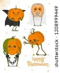 halloween pumpkins set  funny... | Shutterstock .eps vector #1208999449