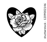 old school rose tattoo.... | Shutterstock .eps vector #1209002146
