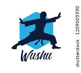 wushu with a weapon logo... | Shutterstock .eps vector #1209005590