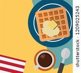 breakfast time set with butter... | Shutterstock .eps vector #1209025243
