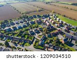 Aerial View Of Homes In A Rural ...