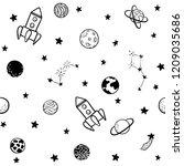 childish seamless pattern. hand ... | Shutterstock .eps vector #1209035686