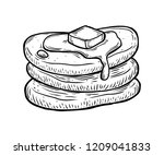 pancakes with butter and syrup... | Shutterstock .eps vector #1209041833