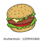 beef ham burger vector.... | Shutterstock .eps vector #1209041860