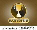 gold shiny badge with trophy... | Shutterstock .eps vector #1209045313