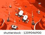 mars planet station orbit base. ... | Shutterstock .eps vector #1209046900