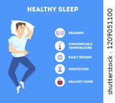 rules of good healthy sleep at... | Shutterstock .eps vector #1209051100