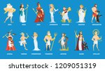 set of olympian greek gods and... | Shutterstock .eps vector #1209051319