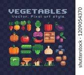 farm vegetables pixel art icons ... | Shutterstock .eps vector #1209054370