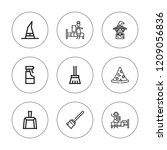 broom icon set. collection of 9 ... | Shutterstock .eps vector #1209056836