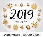 2019 with golden christmas... | Shutterstock . vector #1209057436