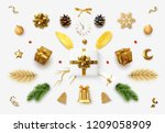 set realistic christmas objects ... | Shutterstock .eps vector #1209058909