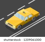 flat 3d isometric yellow taxi... | Shutterstock .eps vector #1209061000
